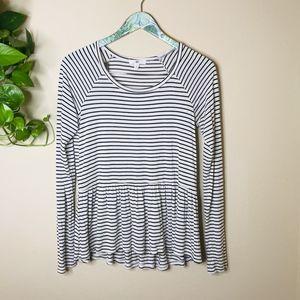 bp Striped Long SleeveSoft Peplum Style Blouse